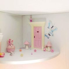 We found a 'lil Fairy Door way up high in our room! Uses for behavior issues. IF your good you the fairy leaves little presents (sometimes to decorate her area)& happy notes. You can use this all year long . (kinda like Elf on Shelf ) Encourages imagination #lilfairydoor #fairies #fairydoor