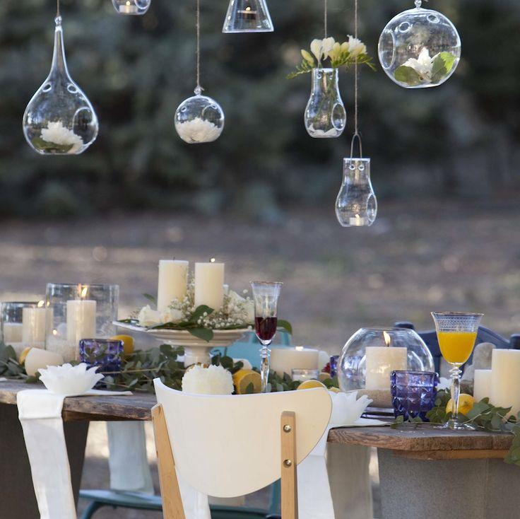 Porta velas de cristal para eventos y decoraci n mesas for Decorar jarrones con velas