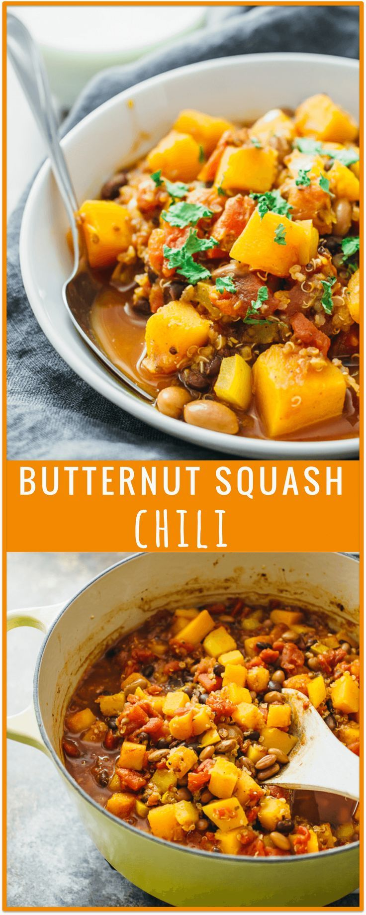 Butternut squash chili - This butternut squash chili is one of my favorite chili recipes! It's easy and fast (cooks in 30 minutes on the stove), and it's a great way to incorporate fall favorites like butternut squash into your diet. This vegetarian / vegan dish is also healthy and includes quinoa, black and pinto beans, and peppers. - http://savorytooth.com
