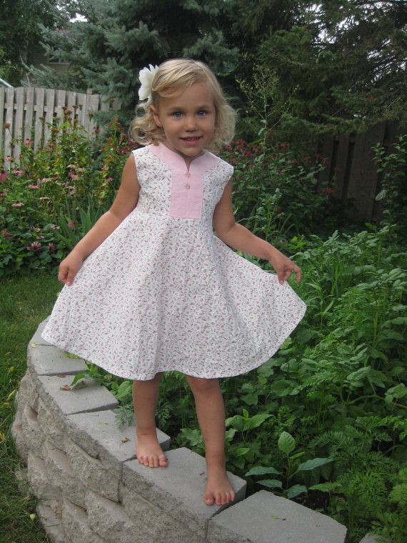 Girls Spring Dress  Tiny Pink Flowers with Pink by MyWillaBean, $31.00