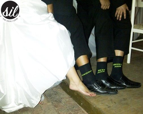 Socks for the Groom, Best Man and Groom's Man. Black sock with Lime Green wording.  #socksforafrica #thesockilove #sil