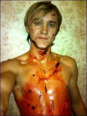 Tom Felton after filming the bathroom scene in Harry Potter and the Half-Blood Prince