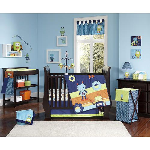 NoJo Baby Bots 4-Piece Crib Bedding Set