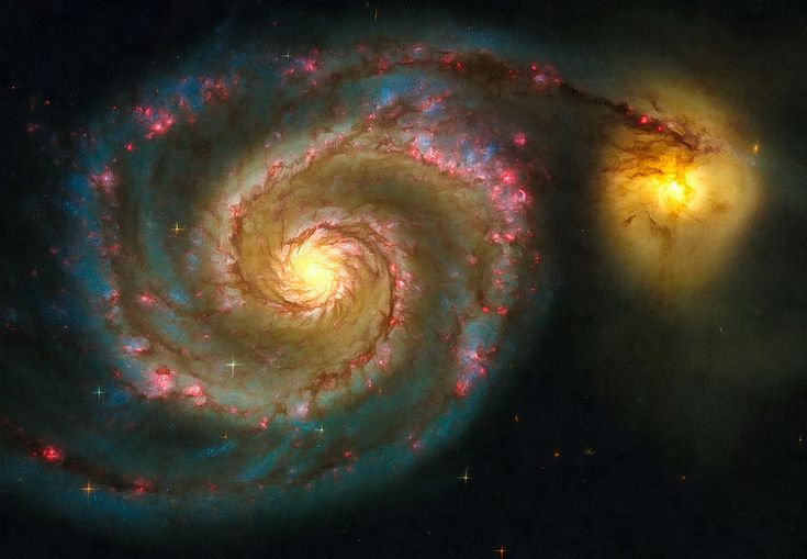 Space Image Spiral Galaxy M51. Digital enhanced photo that looks amazing as large print or poster: http://matthias-hauser.artistwebsites.com/featured/space-image-spiral-galaxy-m51-matthias-hauser.html 30 days money back guarantee. Image credit for the original image: NASA, ESA, S. Beckwith (STScI), and The Hubble Heritage Team.