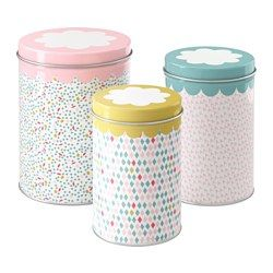 IKEA - UDDIG, Container with lid, set of 3, Suitable for coffee, tea and other dry food.The small sizes can be stacked into the bigger sizes to save space when storing.You can reduce your food waste by storing your dry foods in a jar with a tight-fitting lid, because it keeps the food fresh longer.