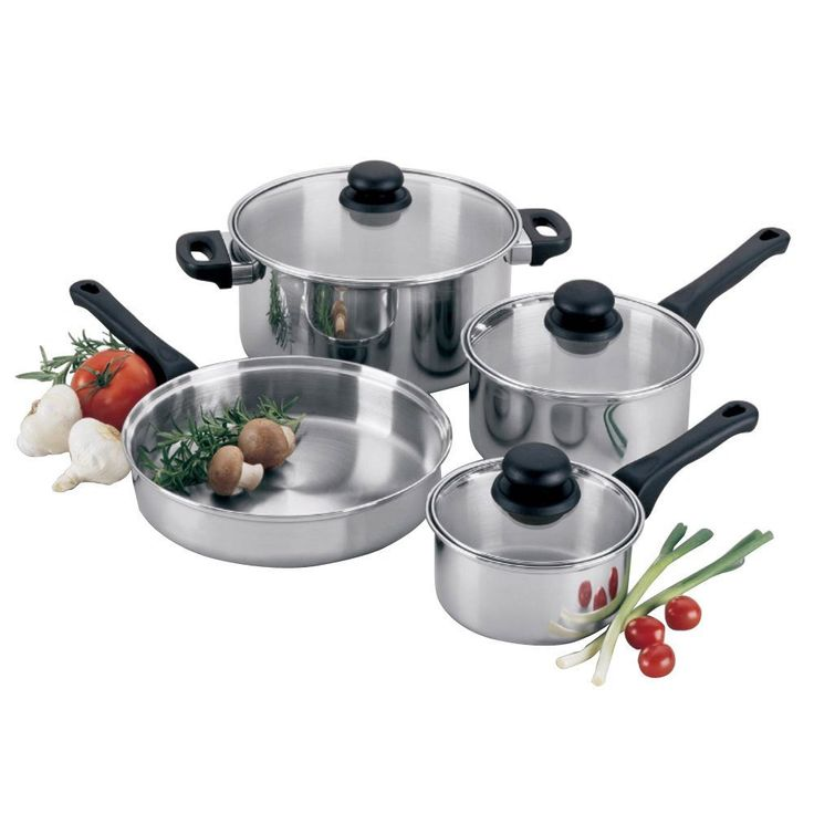 7-Piece Clad Bottom Lodging Industry Cookware Set with Glass Lids -- Click image for more details.
