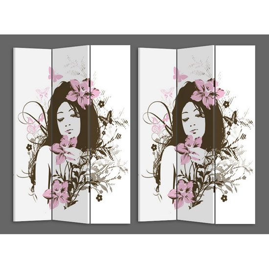 Divide your #room and increase function with the help of this #roomdivider that has girl portrait drawn on both the sides. It is basically made up of canvas material and it comes in 3 panels that can be easily folded and stored.