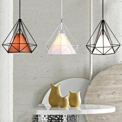Diamond Shaped Wire Cage Pendant Light
