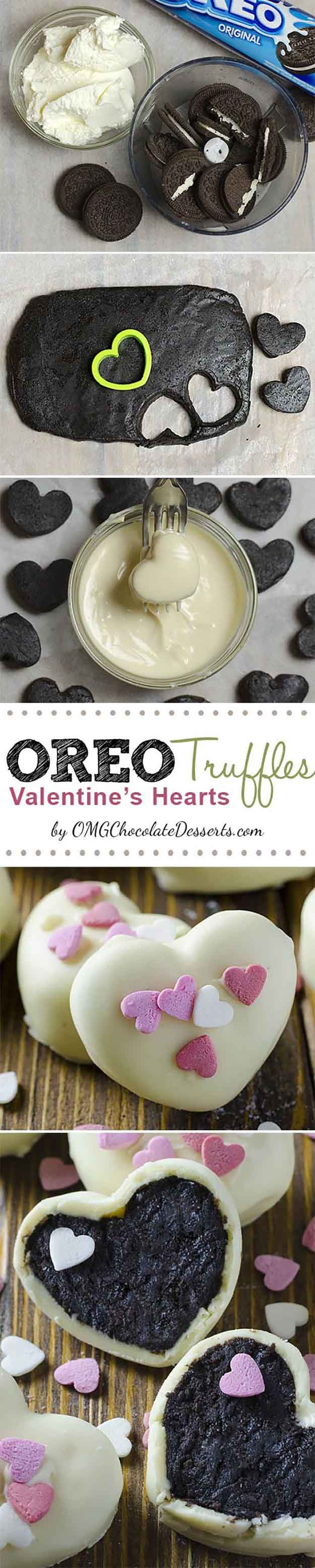 Oreo Truffle Valentines Hearts | 25 Valentines Day Treats That Look Way Too Good to Eat | Beautiful Homemade Gifts For Your Love Ones by DIY Ready at http://diyready.com/valentines-day-treats-that-looks-too-good-to-eat/                                                                                                                                                                                 More