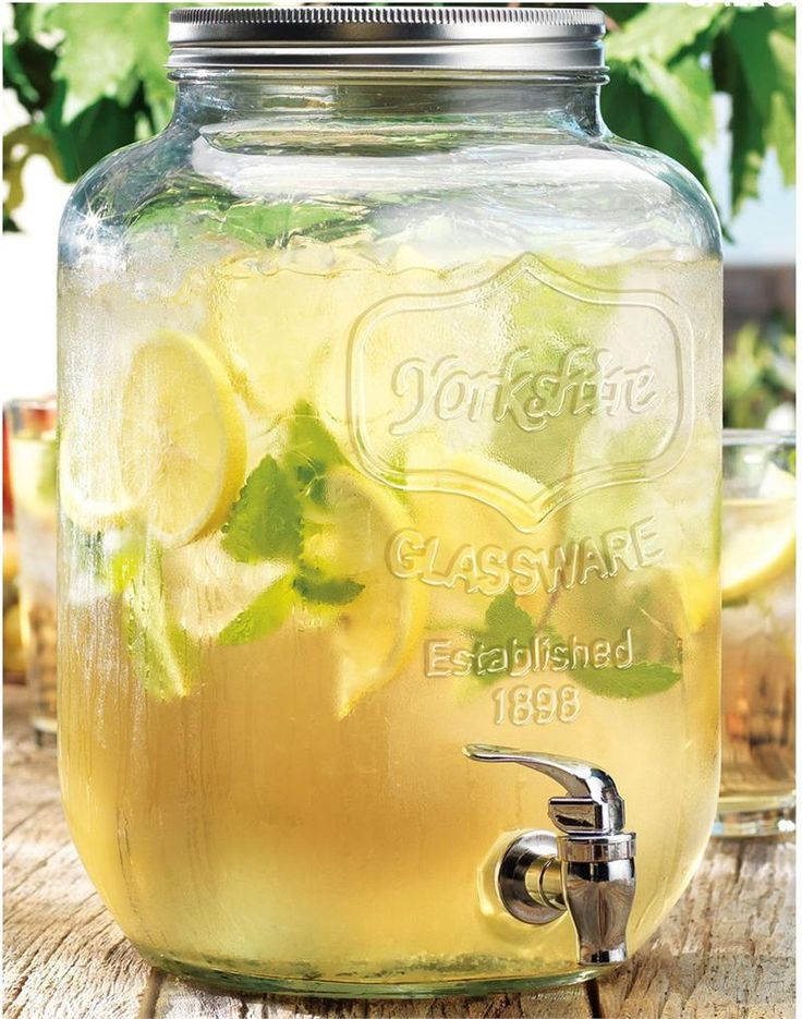 glass mason jar beverage dispenser with removable top product beverage material glass and metalcolor 2 gallon - Drink Dispensers