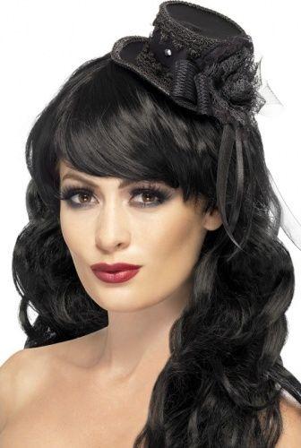 Mini hoed zwart met kant voor dames Halloween accessoire