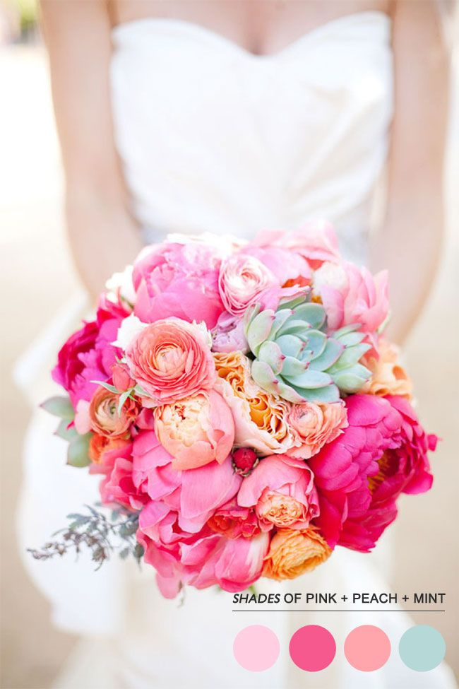 Mint peach pink wedding,Teal pink wedding colors palette... love bouquet- maybe a little more cream and a pop of yellow/gold!