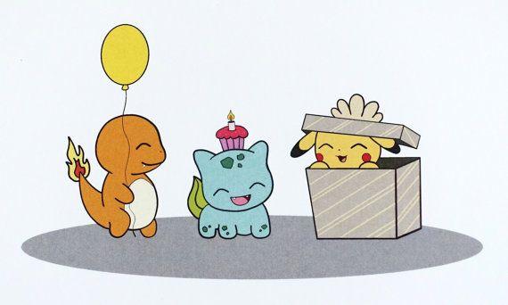Pokemon Birthday Card by ABitofImagination on Etsy