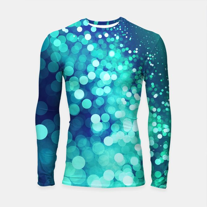 Aqua Blue Glitter Sparkles Longsleeve Rashguard , Live Heroes @liveheroes by @photography_art_decor. All product: https://liveheroes.com/en/brand/oksana-fineart #fashion #clothing #online #shop #design #geometry #metalic #bright #shine #psychedelic #abstract #metalic #abstract #briht #pattern #trendy #stylish #fashionable #modern #awesome #amazing #clothes  #glitter #bokeh #dots #sparkling #girly #twist #swirl #psychedelic #light #aqua #blue #marine #water #sparkles #night