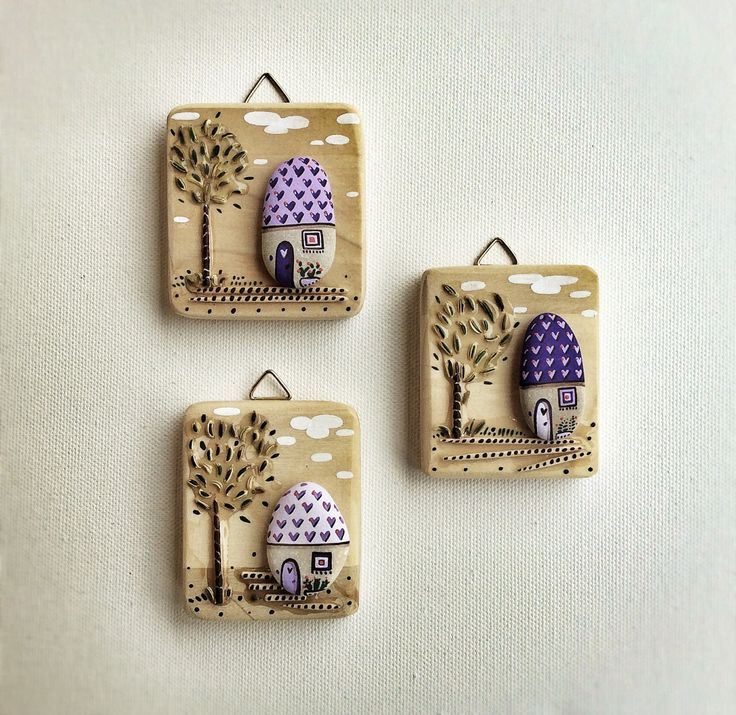 Wood Wall Hanging Reclaimed Wood and Painted Stones by Vijolcenne