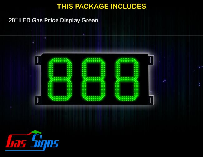 20 Inch 888 LED Gas Price Display Green with housing dimension H590mm x W1110mm x D55mmand format 888 comes with complete set of Control Box, Power Cable, Signal Cable & 2 RF Remote Controls (Free remote controls).