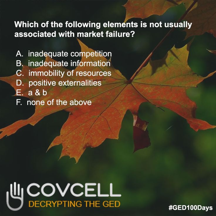 Practice Questions #GED Social Studies: Market Failure #Covcell #GED100Days #GEDClass #getyourged #Adultlearners #AdultEdu