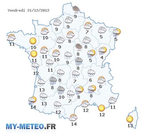 Carte des prévisions météo pour demain 21 décembre 2012