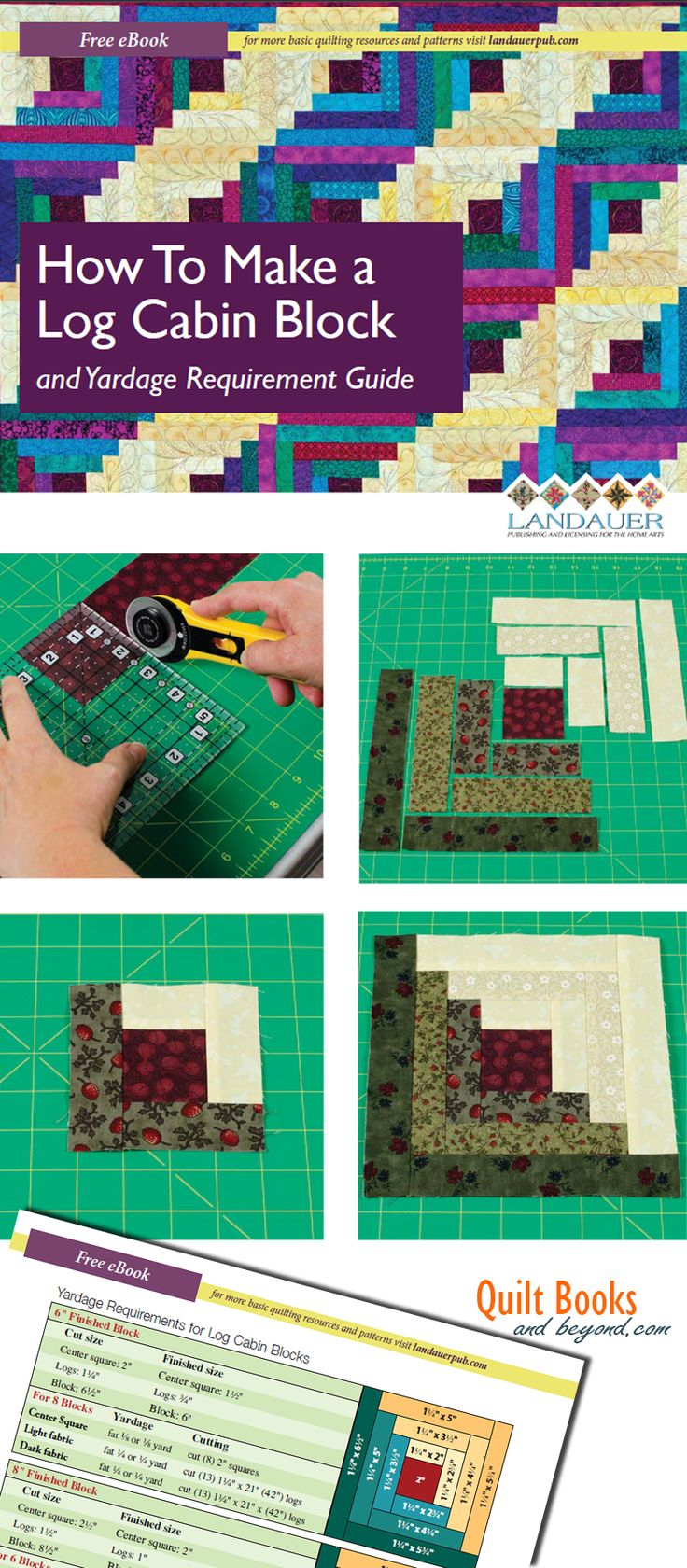 Log Cabin Quilt Block Guide Shows How To Make the Log Cabin Block PLUS Yardage Guidelines Chart | http://quiltbooksandbeyond.com/log-cabin-quilt-block-guide-shows-make-log-cabin-block-plus-yardage-guidelines-chart/