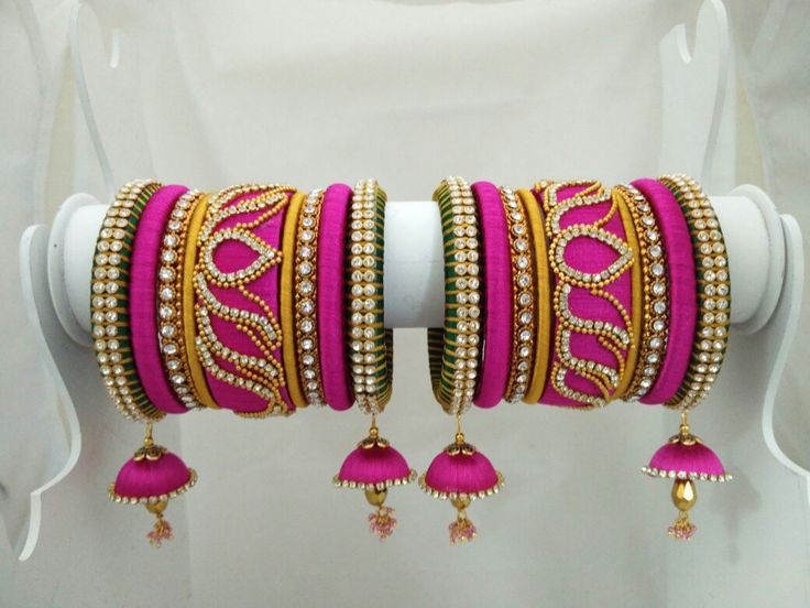 Yaalz, Lotus design party wear  silk thread Bangle... Green, Pink and gold combo For orders please ping us in Whatsapp  +91 8971045612