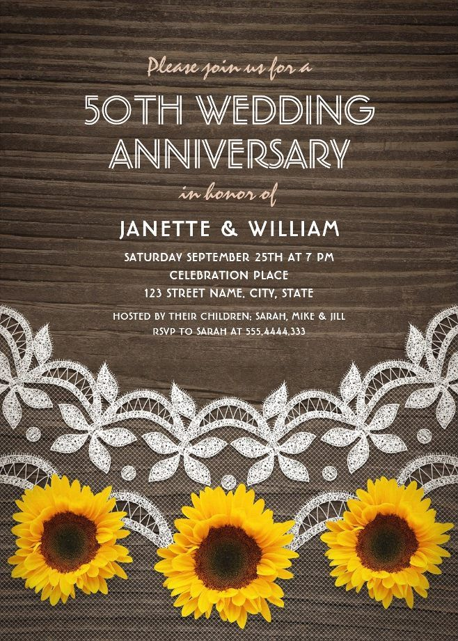 50th Wedding Anniversary Invitations – Country Wood Lace Sunflowers Cards. Perfect for any anniversary party: 10th, 25th, 30th, 40th, 60th etc. Feature a beautiful rustic wood, lace and sunflowers with a unique stylish typography. Therefor they make a romantic invitation perfect for rustic country themed, or other wedding anniversary celebrations. This creative wedding anniversary invitation is fully customized. Just add your wedding anniversary cerebration details. Start with ordering your…