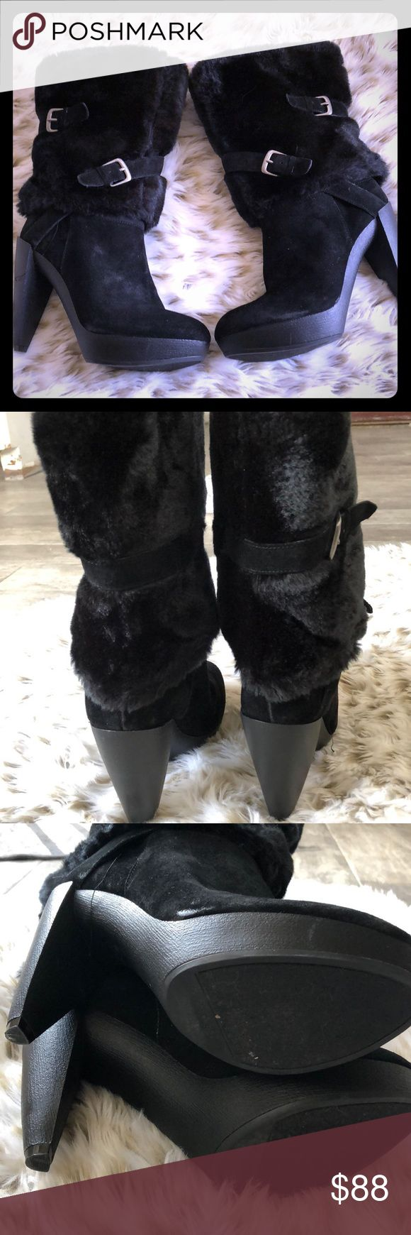 Black Nine West high heeled boots Thee winter boots are like new! Only worn once to a wedding. Gorgeous suede leather platforms. Faux fur around ankle and calf with buckle detail! Few scuffs just from being out of box.  Great condition! Nine West Shoes Heeled Boots
