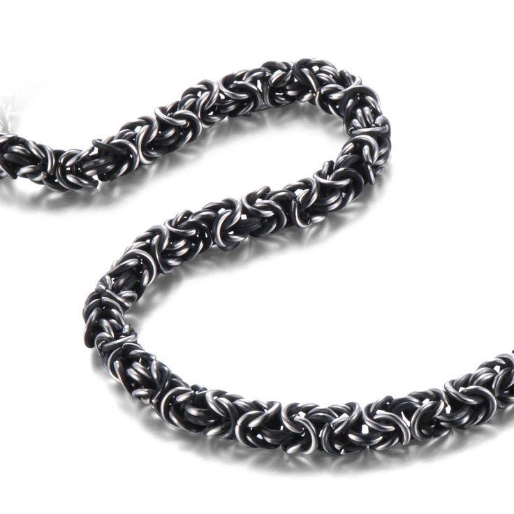 R&B Schmuck Herren Halskette Edelstahl - Kollektion Bad Ass - Byzantinischer Stil (8mm, Silber, Schwarz): 24,90€