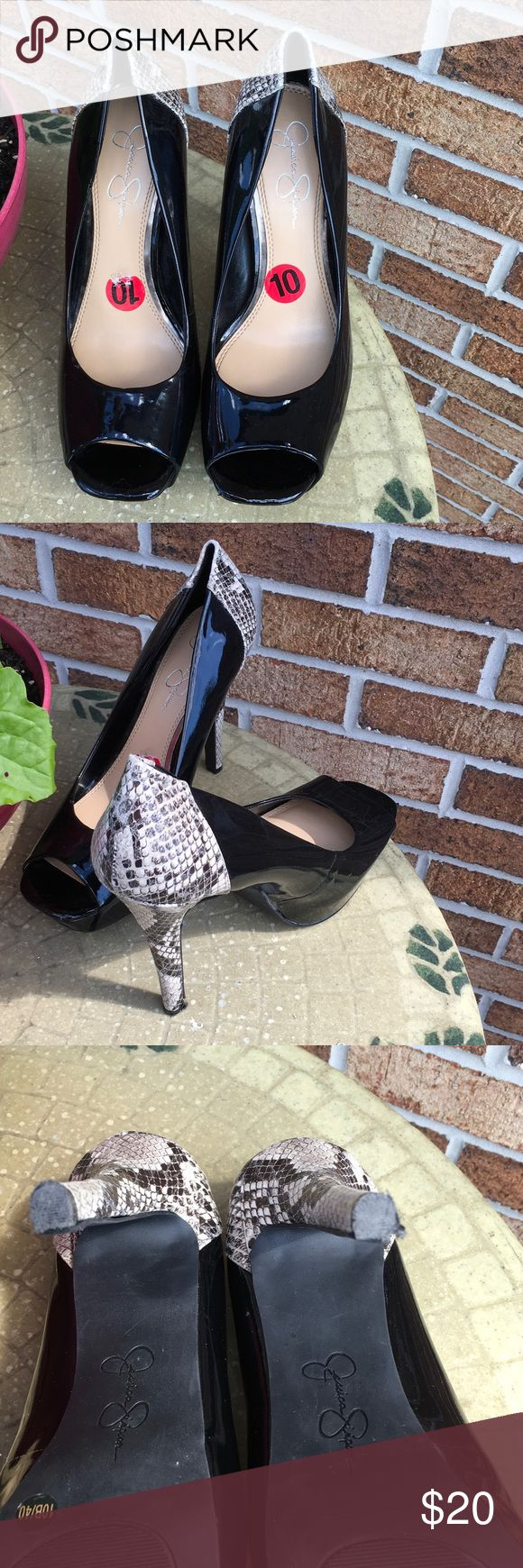 """Jessica Simpson Black Patent snakeskin Heels 10M Jessica Simpson black patent shoes with 5"""" snakeskin print heels.  Light wear with damage to soles shown in last 2 pictures.  Small sharp stones were stuck on soles resulting in the shown bottom of shoes.  Offers always considered. Jessica Simpson Shoes Heels"""