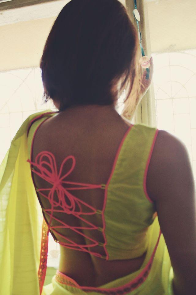 Methododrama Lace Tie-Up #Blouse Yellow #Saree.