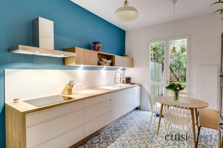 Pinterest\u0027teki en iyi 129 A finaliser  cuisine logement fonct - cuisine blanc laque plan travail bois