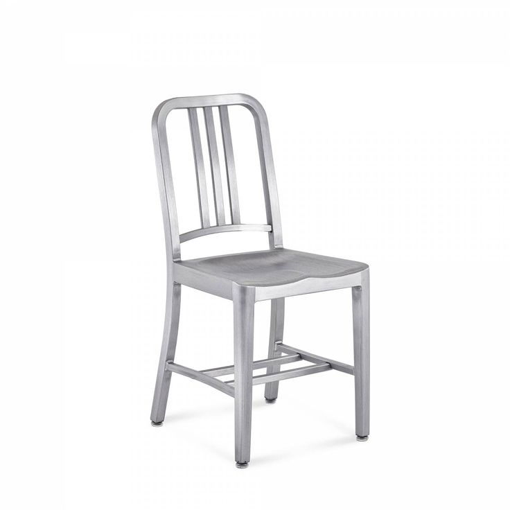 NAVY® CHAIR First built for use on submarines in 1944, the Navy Chair has been in continuous production ever since. With the famous 77 step Process, our craftsmen take soft, recycled aluminum, hand form and weld it- then temper it for strength. Finally, the chair is anodized for a durable finish.  We guarantee the Navy Chairs for life.