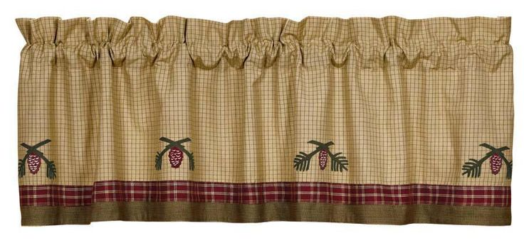 Pine Cone Lodge Curtain Valance Rustic Pinecone Cabin Curtain