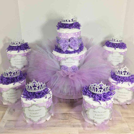 Princess Tutu Diaper Cake Centerpiece Set for by ChicBabyCakes