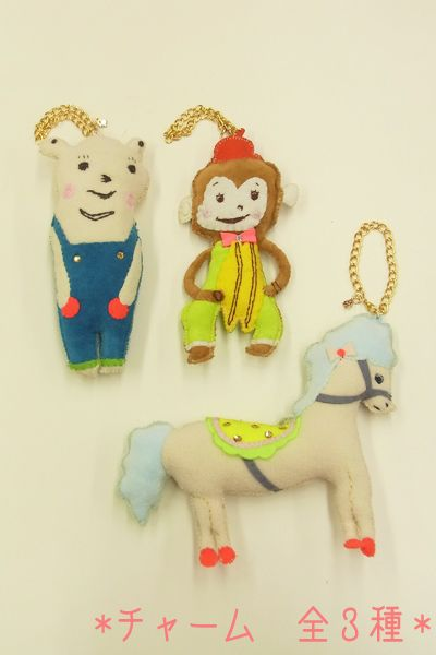 Toy Character Charms - Bear, Monkey with Cymbals and Pony by Franschhoek Lippe, 2,940 yen each.