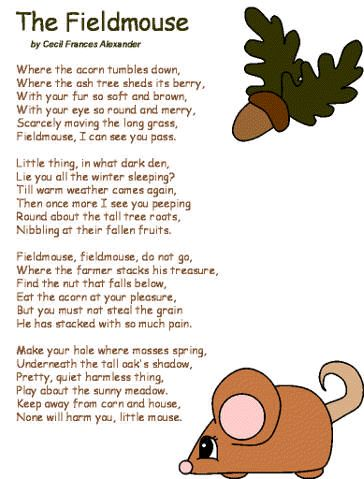 The Fieldmouse Poetry: http://www.dltk-kids.com/type/poetry.htm