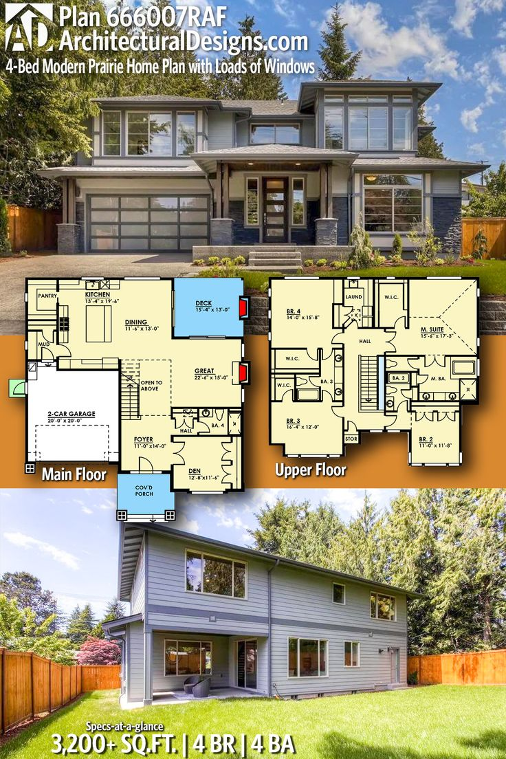 Architectural Designs Modern Prairie Plan 660007RAF gives you over 3,200 sq  ft of heated living space