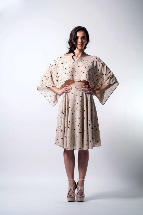 Hearts top boxy crop top kimono sleeves top by LeMoutonBleuShop
