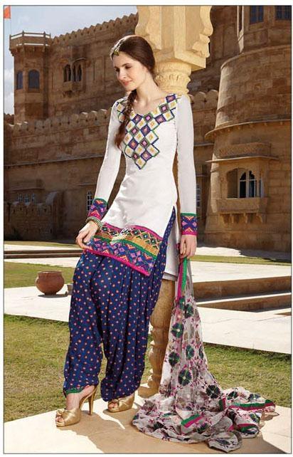 Off White Cotton Full Sleeve Long Designer Salwar Kameez 15853