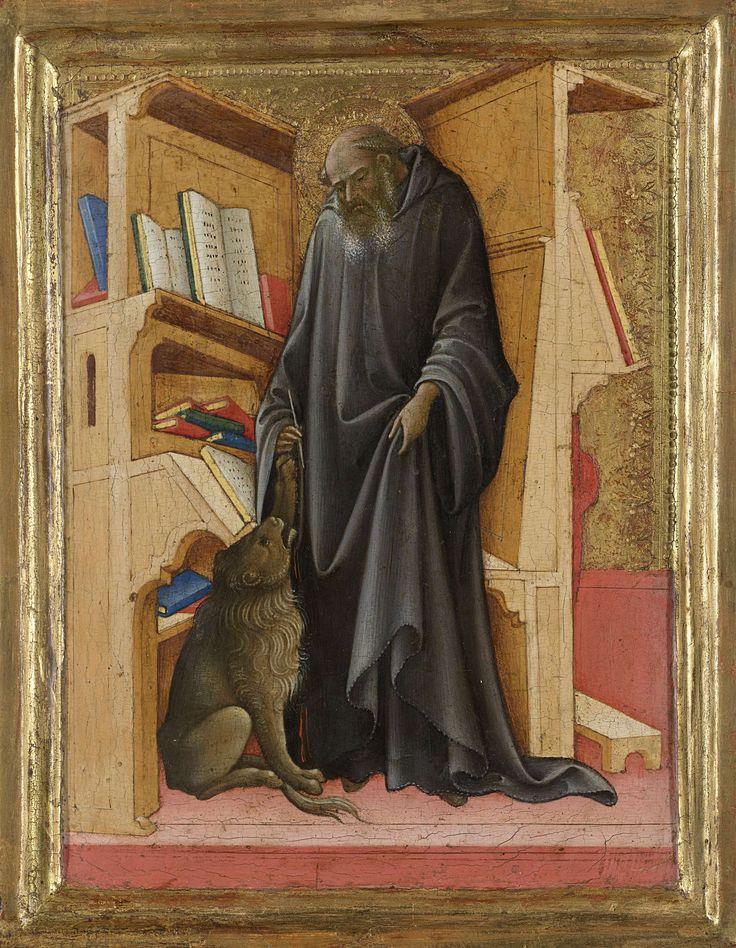 Lorenzo Monaco | Saint Jerome in his Study, Lorenzo Monaco, c. 1420 | De heilige Hieronymus staande in zijn studeervertrek, een pen in de rechterhand, en opengeslagen boek op de lessenaar. Bij de voeten van de geleerde zit de leeuw en heft zijn linkerpoot naar hem op. Links een boekenkast met boeken. Heeft als rechtervleugel waarschijnlijk samen met een paneel met een Madonna van Nederigheid een tweeluik gevormd. Met geïntegreerde lijst.