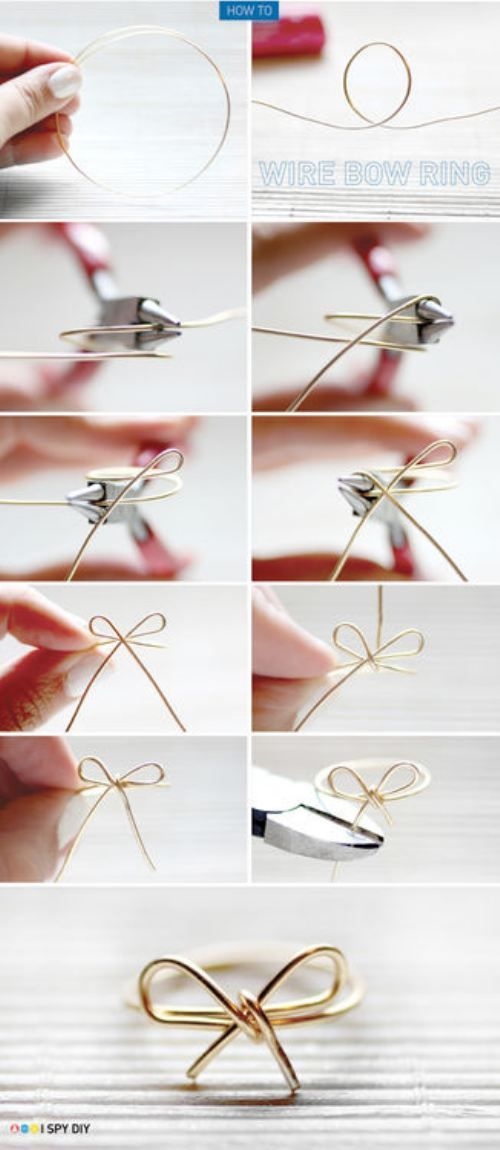 DIY wire bow ring!!!!!  SO cute!