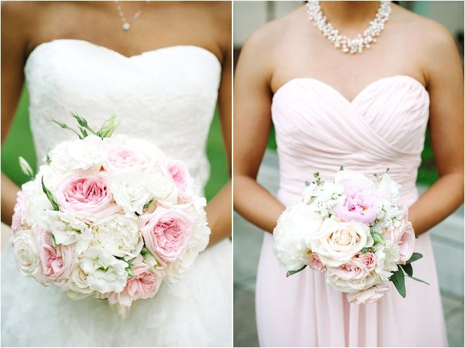 Ivory And Blush Bridal Party Bouquets Bridesmaids