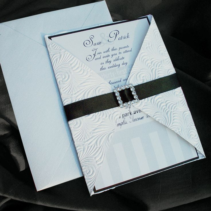 wedding card invitation cards online%0A Upscale Wedding Invitations       Luxury Buckled Wedding InvitationSet of