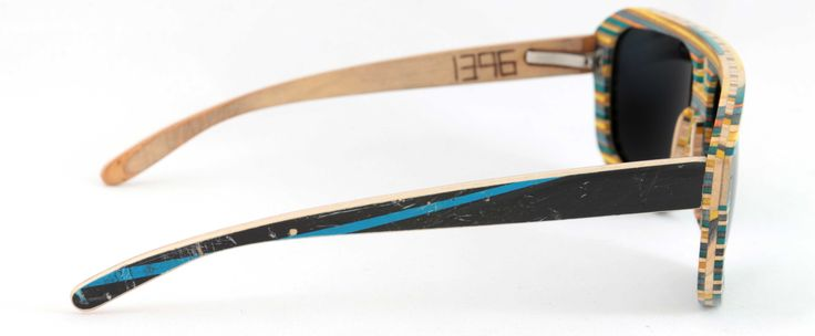5-0 Blue Combi   Recycled wood sunglasses hand made from used skateboards.