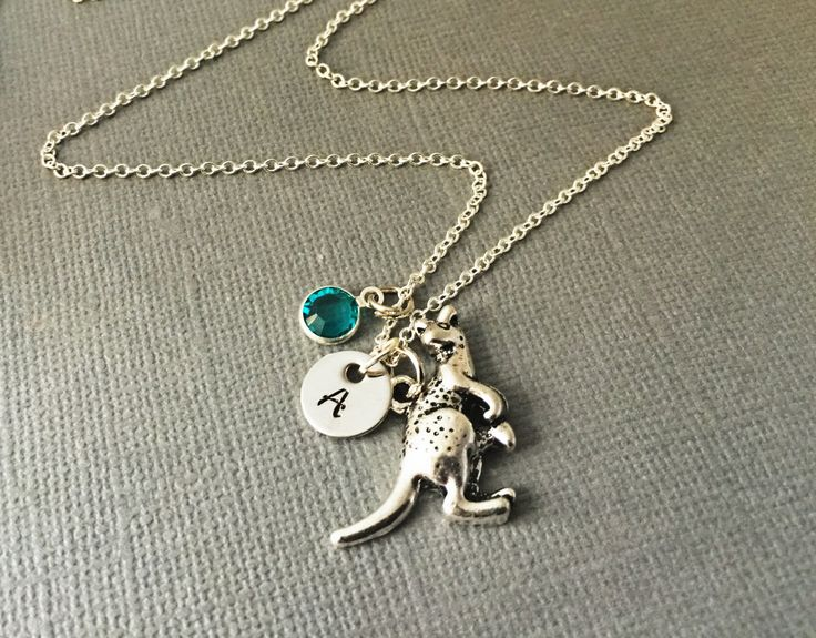 Hand Stamp Kangaroo Necklace - Kangaroo Jewelry - Australia Necklace - Animal Necklace - Zoo Necklace - Travel Necklace-gift For her by sonudesigns on Etsy