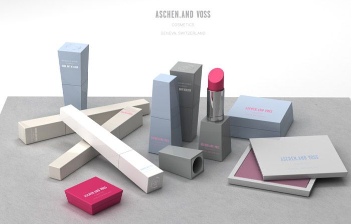 Packaging for Swiss cosmetic company, Aschen and Voss. I love the colours and chunky packaging, especially the lipsticks. Ultra modern.... the type of product I would buy just to put on a shelf and look at.  http://www.establishednyc.com/main/index.php