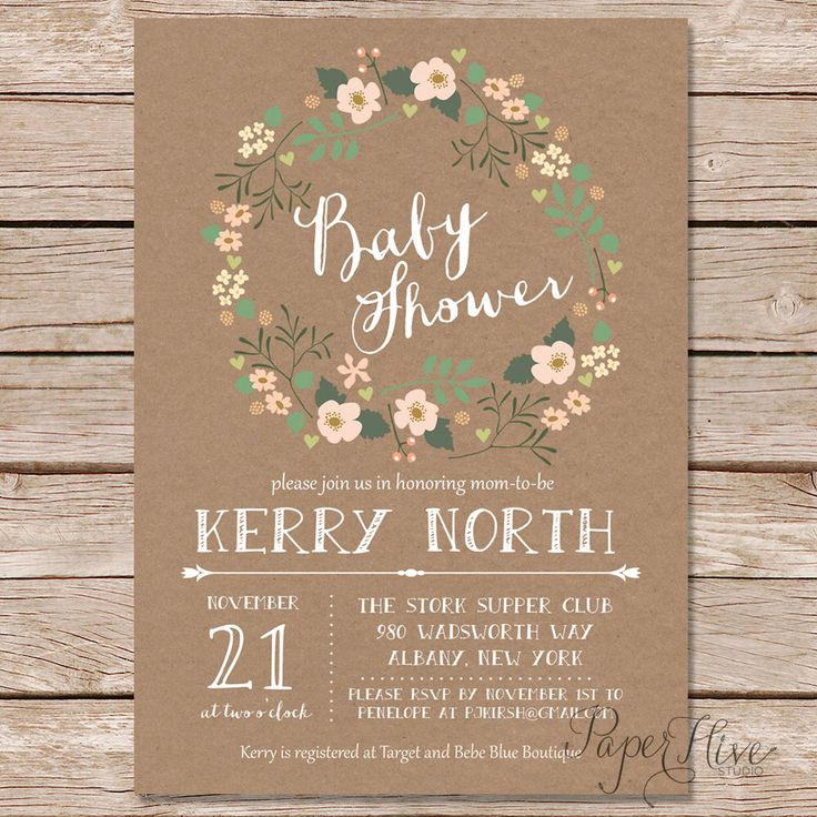 rustic baby shower invitation / shabby chic baby shower invitation / floral wreath baby shower invitation by paperhive on Etsy https://www.etsy.com/listing/210982289/rustic-baby-shower-invitation-shabby