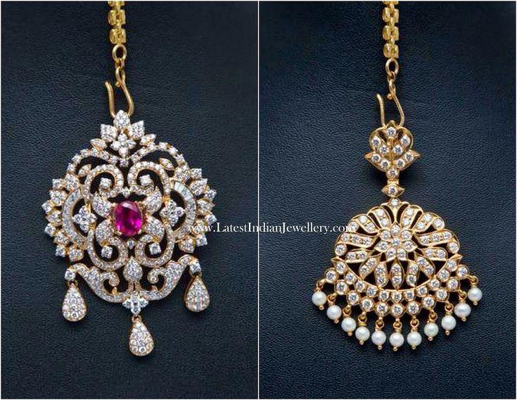 Diamond Pendant cum Maang Tikka