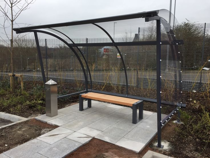 Fuchs Lubricants, Hanley, Stoke-on-Trent.  3m FalcoLite smoking shelter with FalcoBloc bench and ash tray, steelwork powder coated in RAL 7015 slate grey.