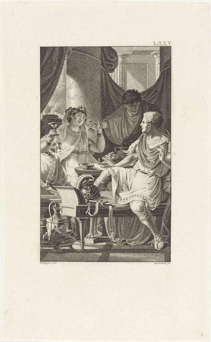 Ludwig Gottlieb Portman | Feestmaal van Cleopatra, Ludwig Gottlieb Portman, 1802 | Cleopatra zit aan tafel met Marcus Antonius. Lucius Plancus verhindert dat Cleopatra een tweede parel uit haar oorbel neemt om in haar wijn te laten oplossen. Hierbij verliest Marcus Antonius de weddenschap wie het duurste banket kon geven.