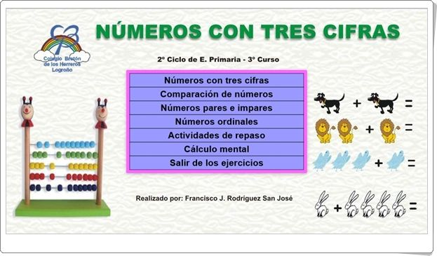 """""""Números con tres cifras"""" (Juegos de Matemáticas de 3º de Primaria)"""